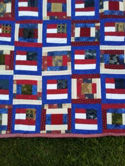 New Patriotic Military Red white blue Baby or Toddler Quilt