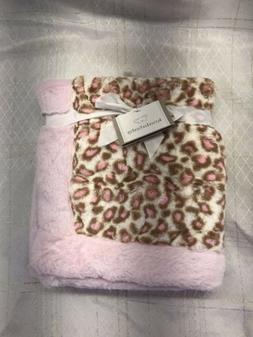 NWT Koala Baby Pink And Brown Tan Leopard Cheetah Plush Faux Fur Baby Blanket