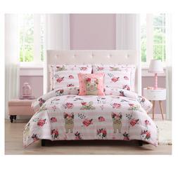New Pink Girl's Queen Size Comforter Set French Bulldog Fema