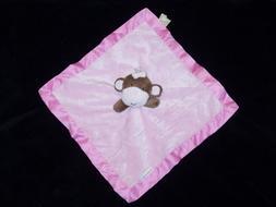 NEW Kidsline Pink Monkey Bow Baby Blanket Satin Security Lov
