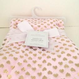 "NEW PINK Soft Baby Blanket Metallic Foil GOLD HEARTS 30"" x 4"