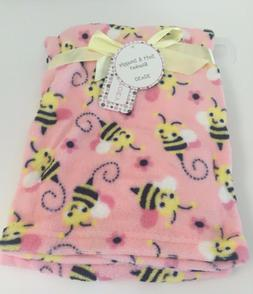 """NEW PINK YELLOW Baby Blanket Bumble Bees Zak & Zoey 30"""" x 30"""