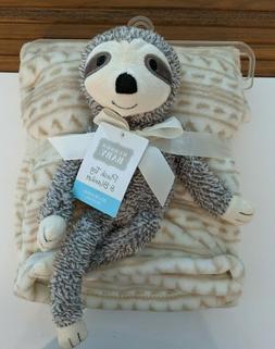 New Hudson Baby Plush Sloth Blanket Set Fleece Brown White B