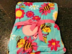 New soft PLUSH THROW Aqua Bumble Bees~DAISY Pink flowers BAB
