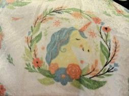new soft PLUSH THROW BABY Blanket~Pink Blue UNICORNS~Flowers