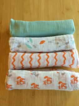 New ADEN AND ANAIS Swaddle Muslin Cotton Blanket Fox Zigzag