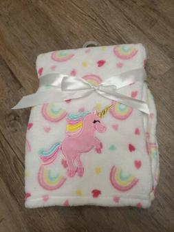 NEW Baby Starters Unicorn Rainbow Hearts Blanket Soft Fleece