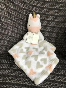 NEW Baby Gear Unicorn White Pink Hearts Security Blanket Sof