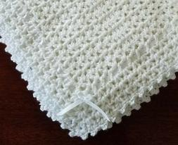 NEW White Cuddly Soft Beautiful Crochet Christening Baby Afg