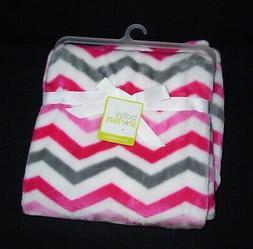 NEW Baby Starters White Hot Pink Grey Chevron Zigzag Blanket