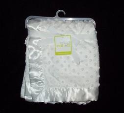 NEW Baby Starters White Minky Bumpy Dot Baby Blanket Satin B