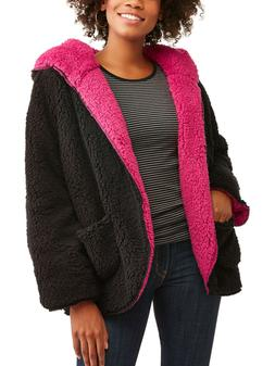 NEW Womens i5 Apparel Black Reversible Baby Sherpa Hooded Wr