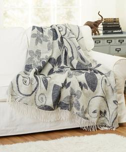 """New Wool Blend Soft Throw Blanket with fringe 55x79"""" Woven J"""
