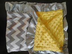 NEW yellow Minky Baby toddler Blanket pink Satin Ruffle CHEV