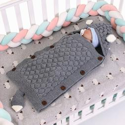Newborn Baby Blanket Knit Crochet Swaddle Sleeping Bag Strol