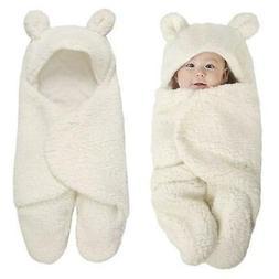 Newborn Baby Blanket Swaddle Wrap Winter Cotton Plush Hooded