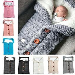 Newborn Baby Boy Girl Blanket Knit Crochet Winter Warm Swadd