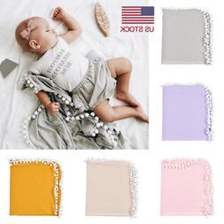 Newborn Baby Boys Girls Crib Pom Blanket Sleeping Swaddle Mi