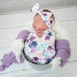 Newborn Baby Floral Snuggle Swaddling Wrap Blanket Sleeping