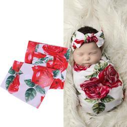 Newborn Baby Floral Swaddle Wrap Swaddling Sleeping Bag Blan