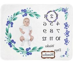 Newborn Baby Girl Boy Monthly Milestone Blanket Mat Photogra