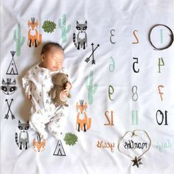 newborn baby girl boy monthly milestone blanket