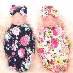 Newborn Baby Girl Receiving Swaddle Blanket Set Headband Bow