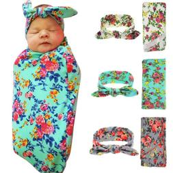 Newborn Baby Kid Floral Swaddle Blanket Headband with Bow Re