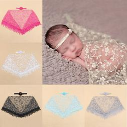 Newborn Baby Lace Blanket Wraps + Headband Photography Photo