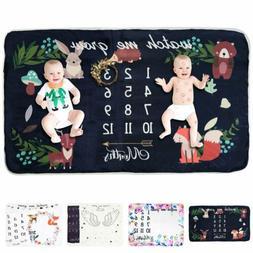 Newborn Baby Monthly Velvet Milestone Blanket Letter Prop Ph