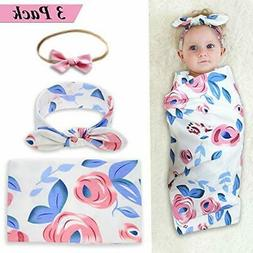 Newborn Baby Swaddle Blanket and Bow Headband Set Baby Recei