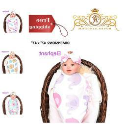 Newborn Baby Swaddle Blanket Bow Headband Set Receiving Infa