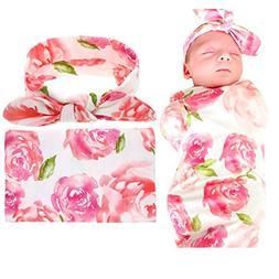 Sywwlov Newborn Baby Swaddle Blanket, Floral Cotton Receivin