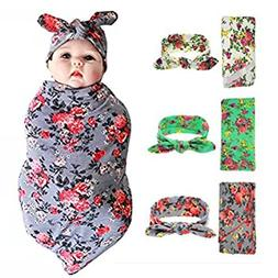 habibee Newborn Swaddle Blanket Headband With Bow Set Baby R