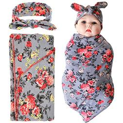 Elesa Miracle Newborn Baby Swaddle Blanket and Headband Valu