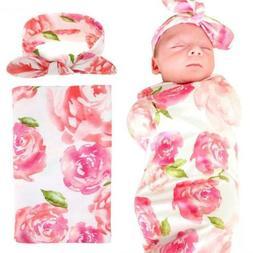 Elesa Miracle Newborn Baby Swaddle Blanket and Headband Valu