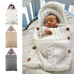 Newborn Baby Swaddle Wrap Blanket Sleeping Bag Knitted Hoode
