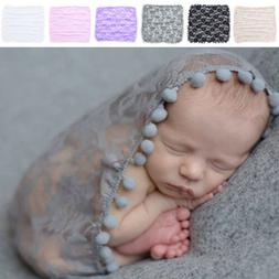 Newborn Baby Toddler Tassel Lace Flower Wrap Photo Photograp