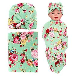 DRESHOW Newborn Floral Swaddle Receiving Blanket with Hats S