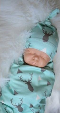 Newborn Infant Baby Boy Deer Swaddle Blanket Boy Coming Home