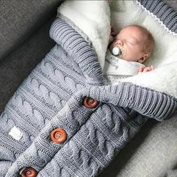 Newborn Infant Baby Boy Girl Blanket Knit Crochet Warm Swadd