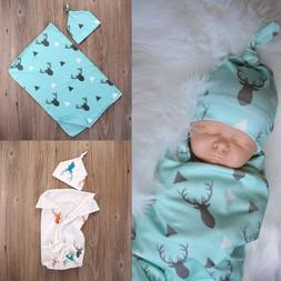 USA Newborn Infant Bed Muslin Swaddle Baby Deer Blanket Swad