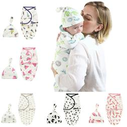 Cute 2PCS 0-6M Infant Baby Kid Cartoon Swaddle Blanket Sleep