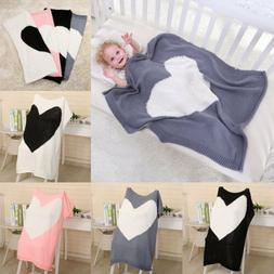 Newborn Kids Baby Knit Napping Blanket Heart Bedding Towel C
