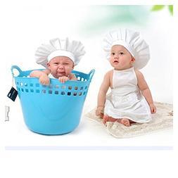 FTXJ Newborn Photo Costume, Cute Baby White Chef Hat with Ap
