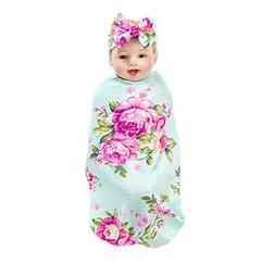 SHELLBOBO Newborn Printed FlowerSwaddle Blanket Headband Set