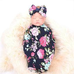 Galabloomer Newborn Receiving Blanket Headband Set Flower Pr