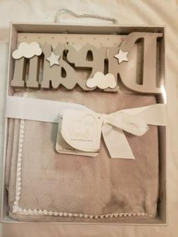 NIB Born Loved Deluxe Gift Set  Wooden Sign W/ Plush Baby Bl