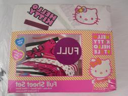 NIP Hello Kitty Neon Kitty 4 Pc Full Sheet Set Pink Black Sh