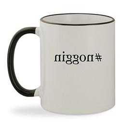 #noggin - 11oz Hashtag Colored Rim & Handle Sturdy Ceramic C